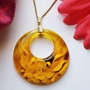 Vintage reverse carved amber color necklace gold